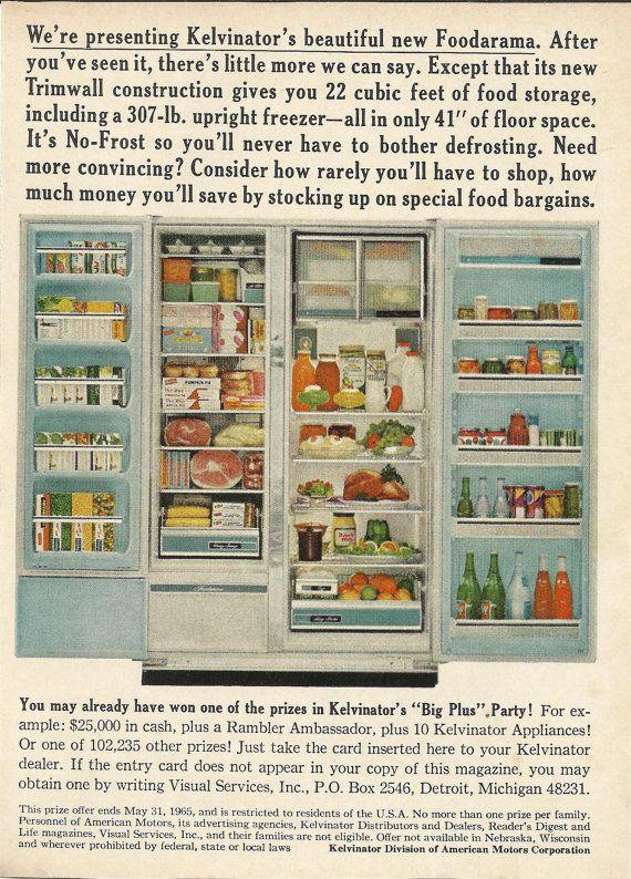 Kelvinator Foodarama Refrigerator Original 1965 Vintage Print Ad Color Photo Major Kitchen Appliance; Refrigerator Open Doors Full of Food,
