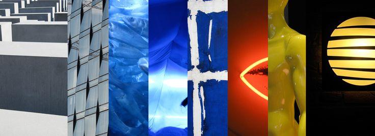 z-w-blauw-rood-geel  Elementen: Steen, glas, licht en nieuw ontwikkelde materialen. Kleuren: indigo, kobaltblauw, vermiljoenrood, geel, wit, grijs en zwart.
