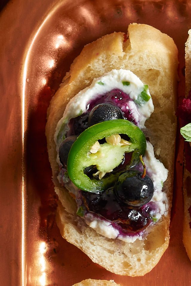 The sweetness of blueberry and spiciness of jalapeno work surprisingly well for a Thanksgiving appetizer.