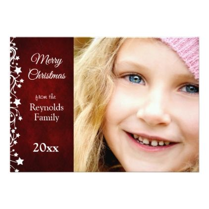 Modern Red and White Merry Christmas Photo Card - invitations personalize custom special event invitation idea style party card cards
