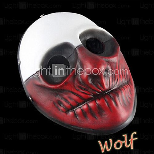 Payday 2 Wolf Clown Resin Mask Costume Party - USD $35.99