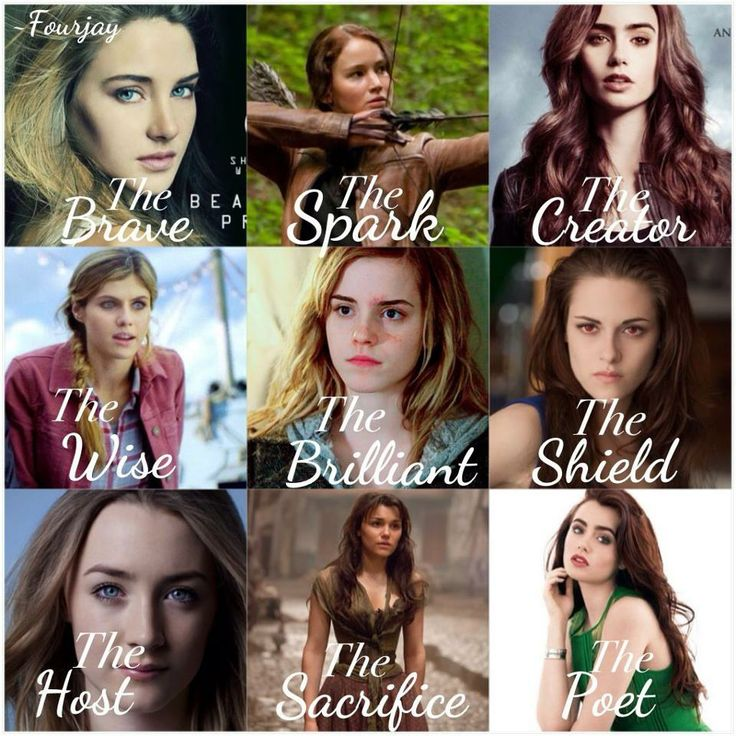 Let's see who we got... Tris from Divergent, Katniss from the Hunger Games, Clary from the Mortal Instruments, Annabeth from Percy Jackson, Hermionie from Harry Potter, a stupid person that doesn't deserve to be in this picture, someone i don't know, Eponine from Les Miserables, and Clary again? Quite the collection of books we have here.