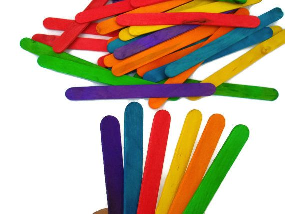 50 Colored Craft Sticks Mixed Intense Colors by ShopToCreate