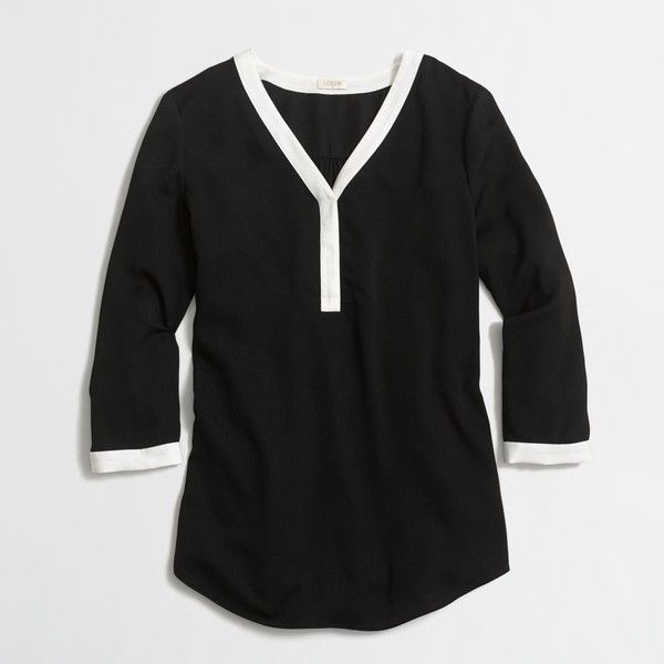 J.Crew Factory three-quarter-sleeve popover shirt ($45) ❤ liked on Polyvore featuring tops, three quarter sleeve shirts, 3/4 length sleeve shirts, j crew tops, three quarter shirt and three quarter sleeve tops