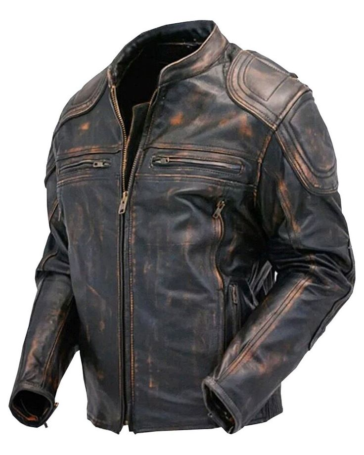Cafe Racer Quilted Distressed Brown Vintage Motorcycle Leather Jacket For Sale On Amazon (L)