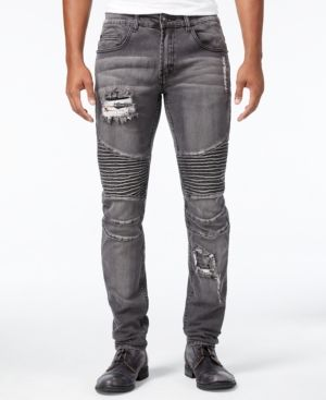 Young & Reckless Men's Nocturno Skinny-Fit Stretch Moto Jeans  - Gray L