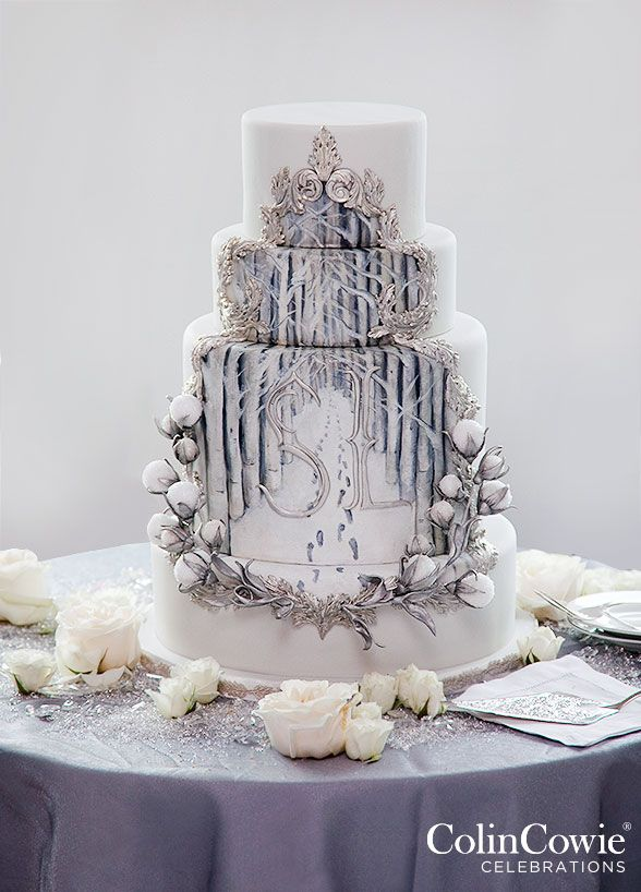 his royal cake is fit for an ice queen! The four-tiers are hand painted to display a snow covered forest scape. Wedding Cakes, Cake Decorating, Winter Wedding || Colin Cowie Weddings