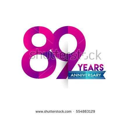 eighty nine years anniversary celebration logotype colorfull design with blue ribbon, 89th birthday logo on white background.