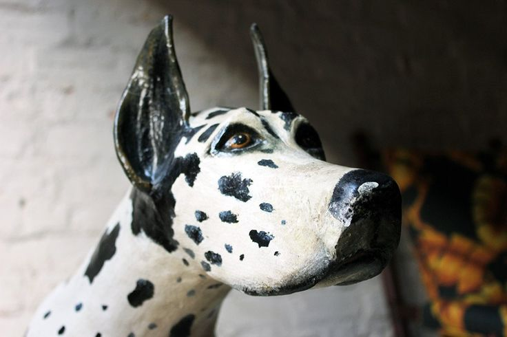 A Marvellous Stylised Mid-20thC Life-Sized Painted Composite Model of a Harlequin Great Dane