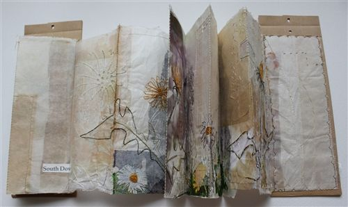 Land Maps by Cas Holmes | Mixed media book works, found object, paint, print, stitch, urban landscape, 4 pieces 28x5x100cm (open) 2012 http://www.casholmes.textilearts.net/ #artists_book #nature #fiber_art