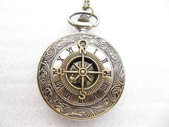 Vintage Compass Roman Grain Pocket Watch Necklace Charm With Chain Jewelry Pendant Mens Gift