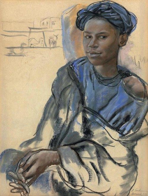Sketch by Russian artist Zinaida Serebriakova, probably done in Morocco. Wonderful expression!