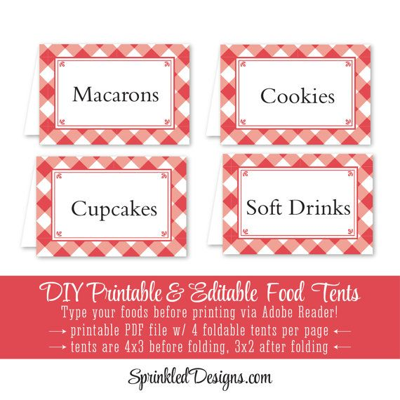 Red Checked Gingham Printable Party Food Tents - Folding Editable Buffet Food Labels Escort Place Cards - Cayenne Gingham Picnic BBQ Plaid by SprinkledDesign