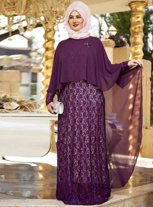 Chiffon Sequined Evening cape - Purple - Nesrin Emniyetli