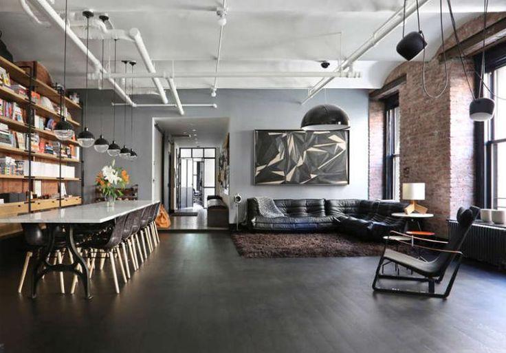 Ausgesetzte Rohre und Ziegelwände sind eine perfekte Kulisse für eine industrielle Wohnung