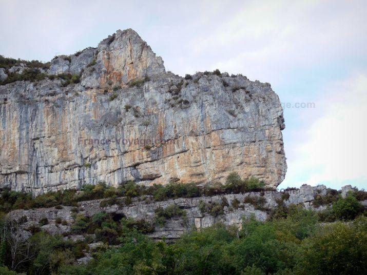 Gorges de l'Aveyron: Falaise calcaire (paroi rocheuse) surplombant la verdure - France-Voyage.com