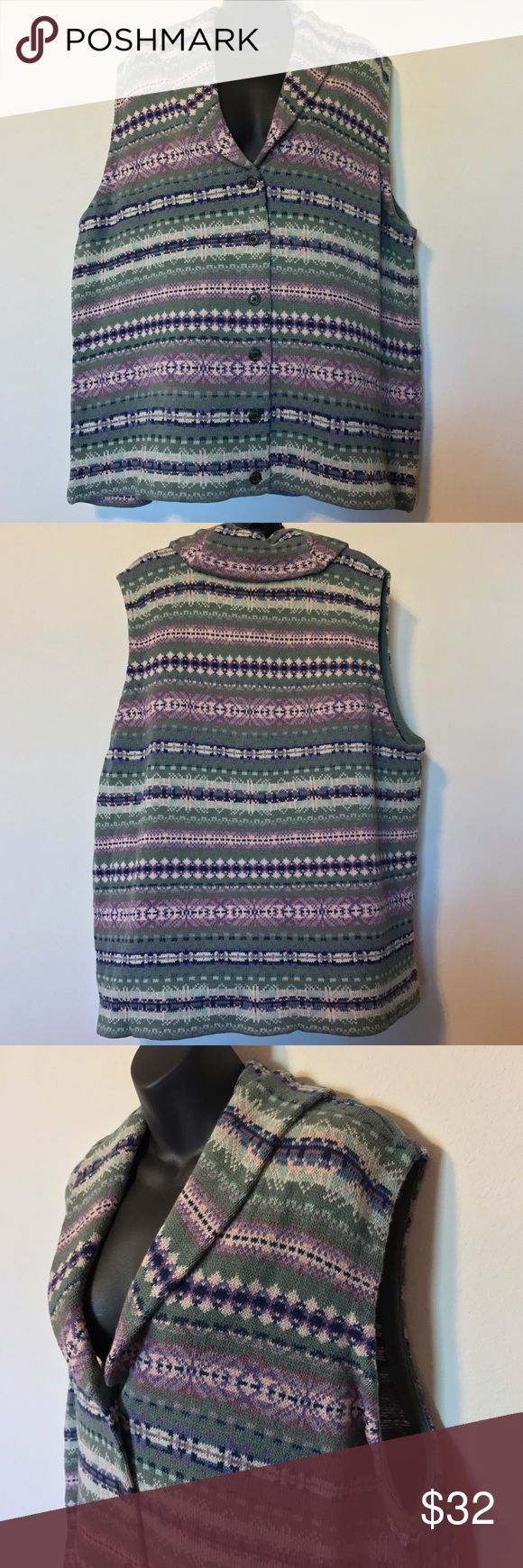 "CHAPS SWEATER VEST WOMEN'S GREEN BLUE FAIR ISLE NWT $75 CHAPS SWEATER VEST WOMEN'S TOP PLUS SIZE 3X GREEN BLUE FAIR ISLE BUTTON DOWN MEASUREMENTS LYING FLAT ARMPIT TO ARMPIT 27"" LENGTH 32"" Chaps Jackets & Coats Vests"