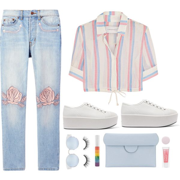 Platform Sneakers by shoelover220 on Polyvore featuring moda, Solid & Striped, Bliss and Mischief, Prada, Roksanda, tarte, Forever 21, Nails Inc. and platformsneakers