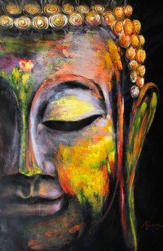 Il sagit dune peinture à lhuile peinte à la main dun visage de Bouddha, peint…