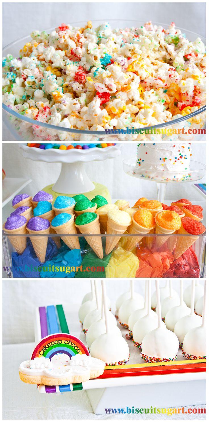 Desserts pour table sucrée arc-en-ciel