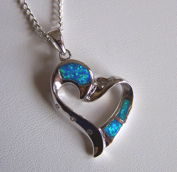 Valentines Day necklace  Opal Heart pendant by CoyoteRainbow, $40.00
