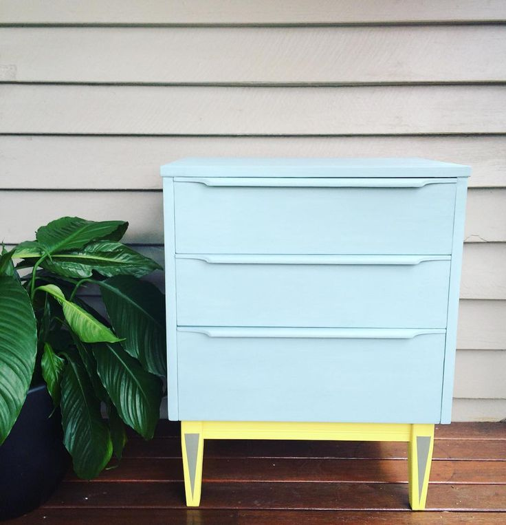 """74 Likes, 10 Comments - Polly Coulson (@attic.furniture.qld) on Instagram: """"#midcenturymodern refinish with Duckegg Blue and English yellow #anniesloanchalkpaint on this…"""""""