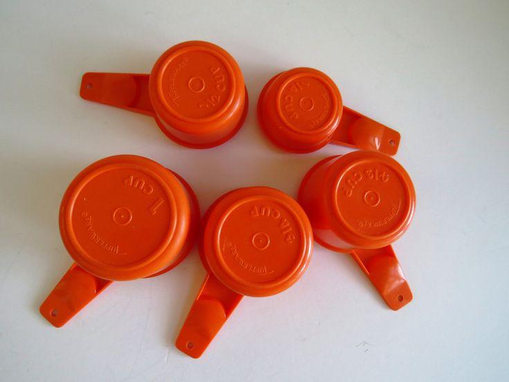 Tupperware Measuring Cups - Set of 5 - Harvest Orange - Retro Vintage Tupperware - Baking Master Chef - Kitchen Prep Tools - Molded Plastic by shabbyshopgirls on Etsy