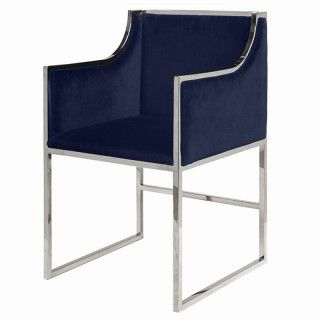 Worlds Away Anabelle Chair Brass Navy Dining Chairs
