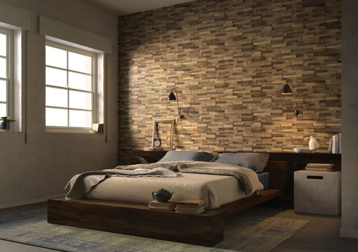 Wood block oak effect wall tiles create a textured for Bedroom tiles texture