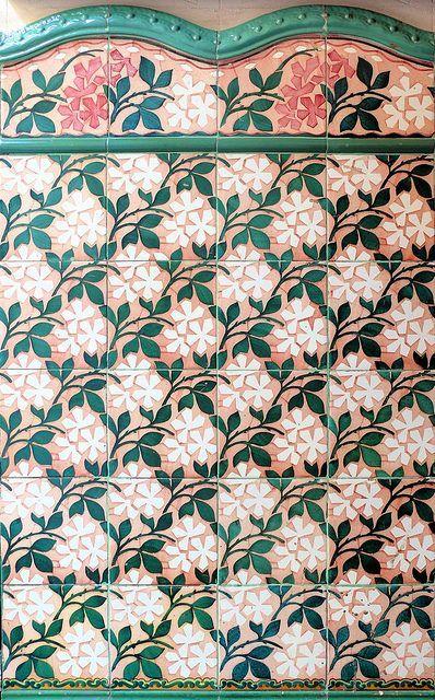 Barcelona tile. Floral pattern tile.