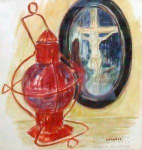 Nicolas Carrega - Lampe Tempête Et Christ Sur Une Table