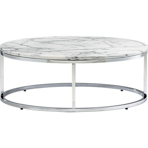 """Smart round marble top coffee table   CB2 $329 33""""dia.x12.25""""H Carrara-style white marble top with grey veining, Steel tube frame with a chrome-plated finish, Protect marble from liquids, wipe up spills immediately, Made in Taiwan"""