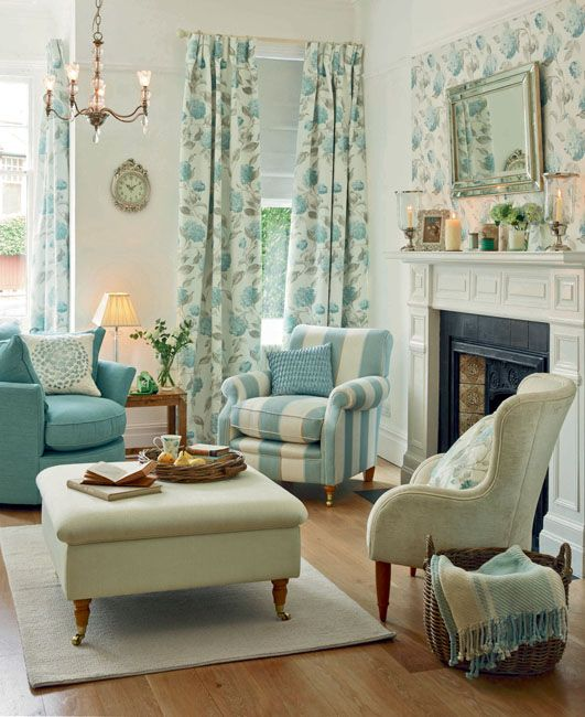 229 best blue and white rooms images on pinterest - Show pics of decorative sitting rooms ...