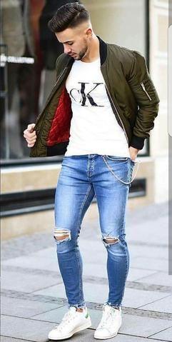 Skinny Jeans Super Spray para hombre sobre algodón ligero, ajuste ajustado al t…