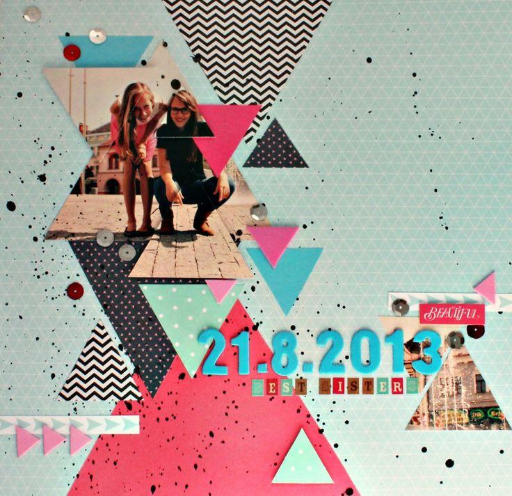 layout 001. / sisters http://paperoamo.blogspot.cz/2013/10/challenge-geometrie-vyhrava.html