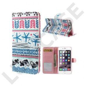 Tribal (Mørkeblå Søstjerne) iPhone 6 Plus Læder Flip Etui