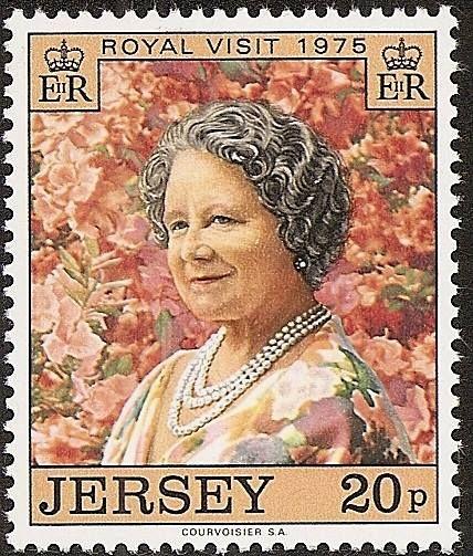Jersey: Visita real de la Reina Madre de la Reina Elizabeth II -1975 Fecha emisión: 1975-05-30Fecha de caducidad: 1976-05-31Formato: SelloEmision: ConmemorativoPerforación: 11½Impresión: FotograbadoColores: MulticolorValor facial: 20 pTiraje: 572.675Papel: GraniteMarca de agua: NingunaReseña:Isabel Bowes-Lyon (Elizabeth Angela Marguerite Bowes-Lyon, Londres, Inglaterra, 4 de agosto de 1900 – 30 de marzo de 2002) fue esposa del rey Jorge VI y por lo tanto reina consorte del Reino Unido y…
