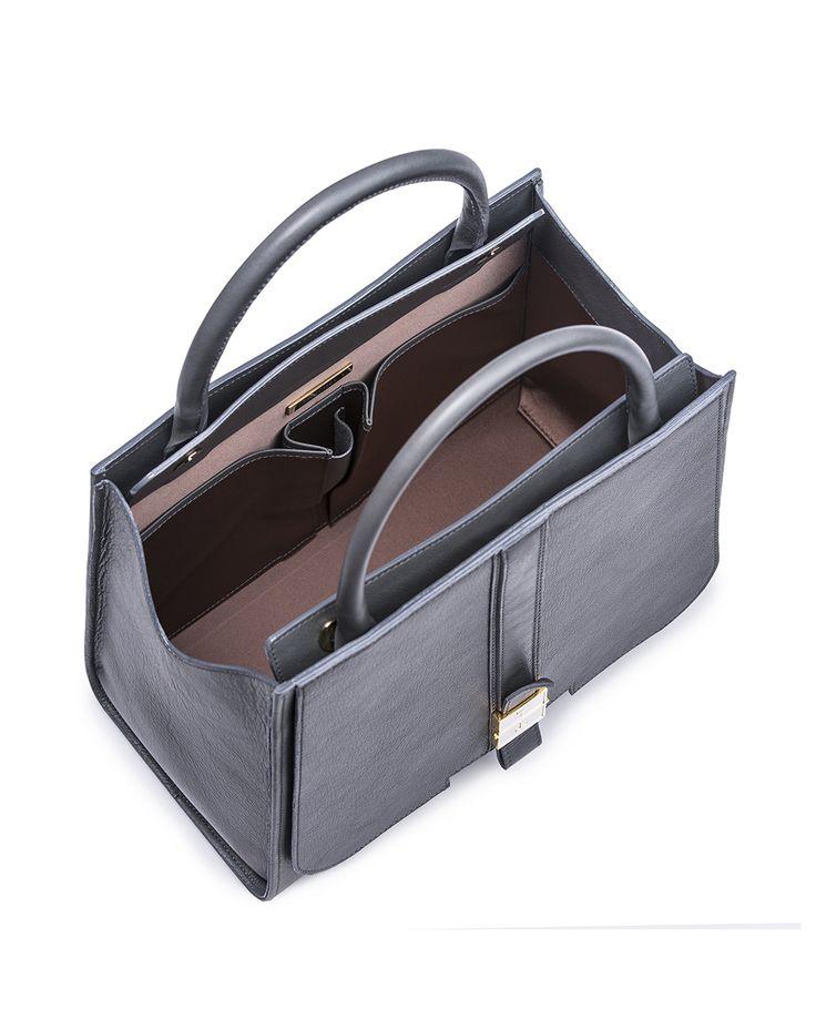 #TANCHEL | MELIA #Structured #Carryall #Handbag Morro Grey #FW13/14  #bag #greybag #greyhandbag #fashion #leatherbag #grey  #statementbag #itbag