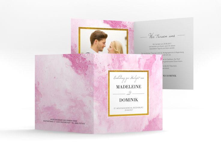 """Hochzeitseinladung """"Marble"""" Quadratische Klappkarte rosa"""