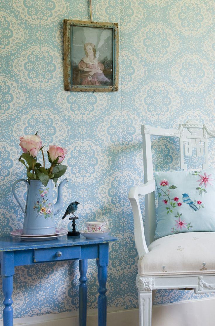 Room Seven Behang Dentelle Soft Blue