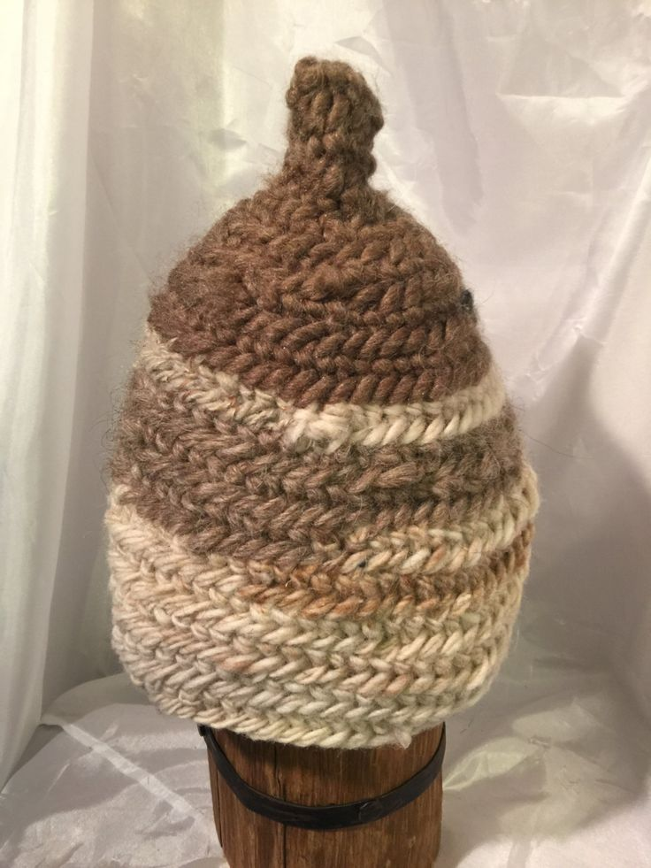 Viking, Norse, Anglo Saxon, Nalbinding hat, Hand spun wool, oslo stitch. Browns and tans by Micheleshats on Etsy