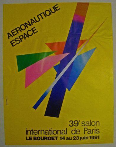 Affiche-39e-Salon-AERONAUTIQUE-Paris-1991-signee-AURIAC