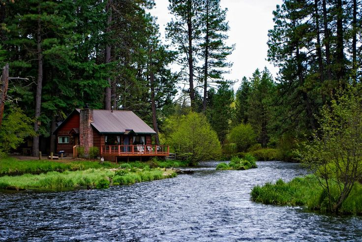 Image result for log cabin by the river