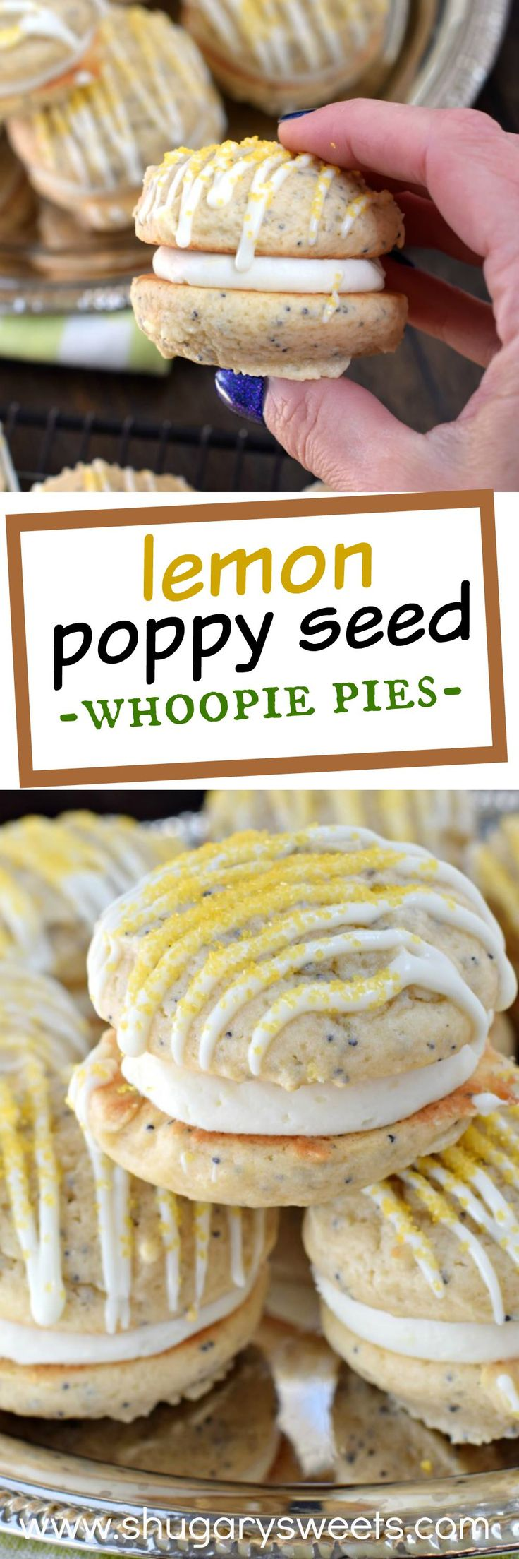 These Lemon Poppy Seed Whoopie Pies are a soft and chewy cookie with a sweet and tangy citrus filling! Your tastebuds are going to sing! #bakealittleextra