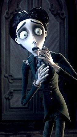 IMAGE 11: Victor van dort from the corpse bride. i have taken inspiration from his costume with the victorian style suit. The way it looks is very effective. In this film is the contrast of the living world, which is dark and grey, to the underworld which is very bright, colourful and happy is very effective.