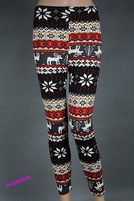 Stylish Nordic Snow Flake Reindeer Knitted Xmas Leggings Tight Pants 35 Styles   eBay