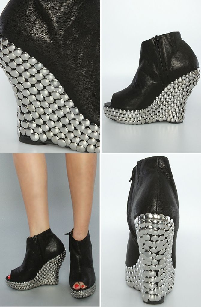 tacky shoes! easy - but I would glue the tacks in place to be safe.