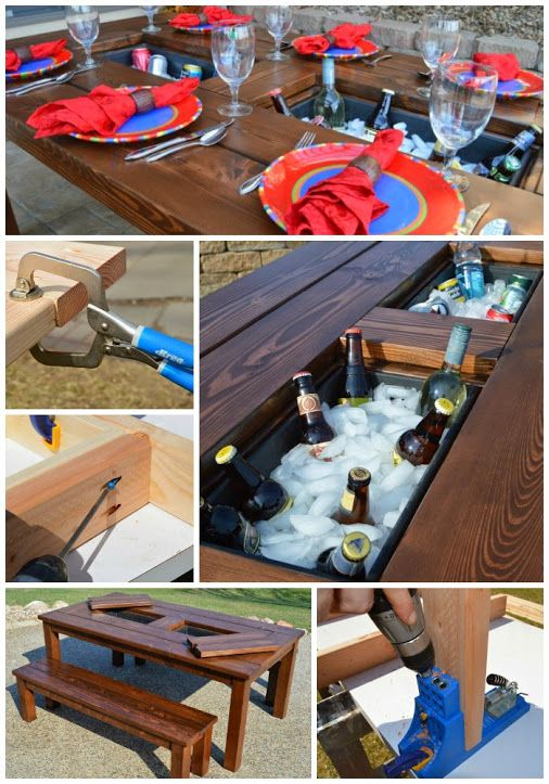Patio Table Tutorial with Built-In Ice Boxes #DIY #summer #party