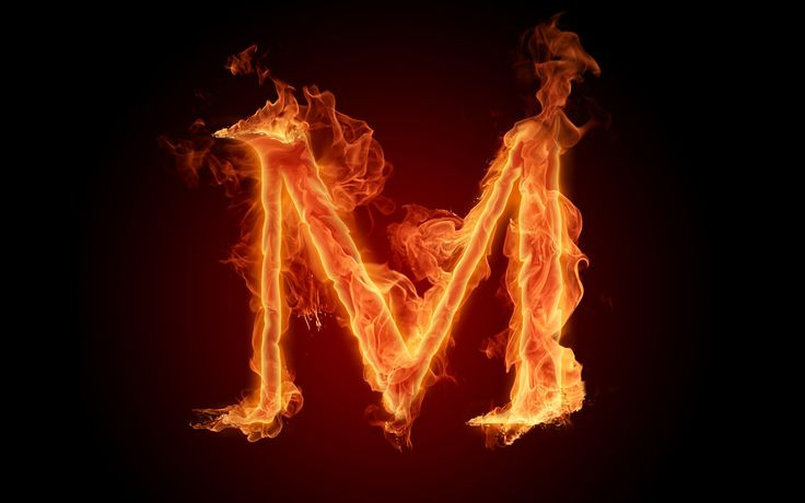 The fiery English alphabet picture M