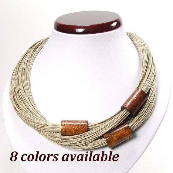 trendy necklace summer jewelry boho eco jewelry norart Linen necklace with wooden beads natural necklace women/'s jewelry linen jewelry